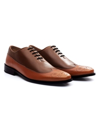 Coffee Brown and Tan Premium Wingtip Oxford alternate shoe image