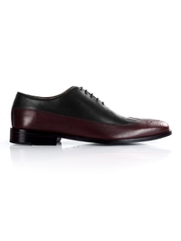Black and Burgundy Premium Wingtip Oxford main shoe image
