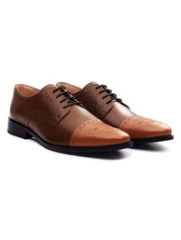 Coffee Brown and Tan Premium Half Brogue Derby alternate shoe image