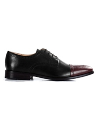 Black and Burgundy Premium Half Brogue Derby main shoe image