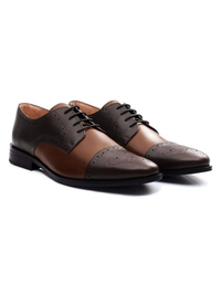 Brown and Coffee Brown Premium Half Brogue Derby alternate shoe image