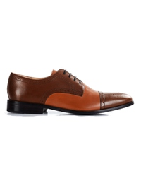 Coffee Brown and Tan Premium Half Brogue Derby main shoe image