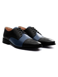 Black and Dark Blue Premium Half Brogue Derby alternate shoe image