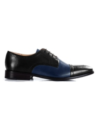 Black and Dark Blue Premium Half Brogue Derby main shoe image