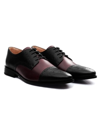 Black and Burgundy Premium Half Brogue Derby alternate shoe image