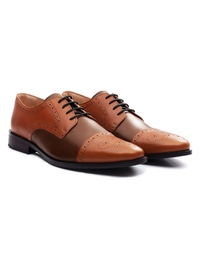 Tan and Coffee Brown Premium Half Brogue Derby alternate shoe image