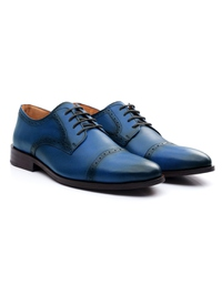 Dark Blue Premium Half Brogue Derby alternate shoe image