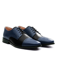 Dark Blue and Black Premium Half Brogue Derby alternate shoe image