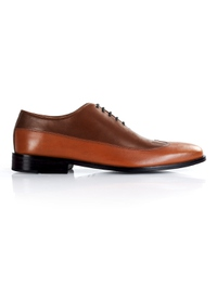 Coffee Brown and Tan Premium Wingtip Oxford main shoe image