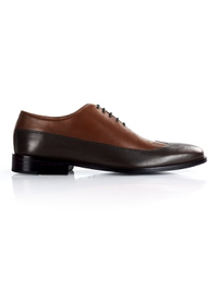 Coffee Brown and Brown Premium Wingtip Oxford shoe image