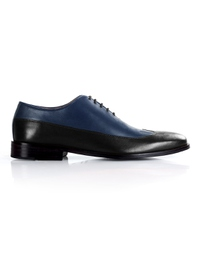 Dark Blue and Black Premium Wingtip Oxford shoe image