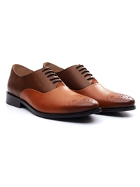 Coffee Brown and Tan Premium Plain Oxford alternate shoe image