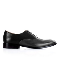 Black and Gray Premium Plain Oxford main shoe image