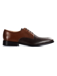 Coffee Brown and Brown Premium Plain Derby main shoe image
