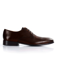 Dark Brown Premium Plain Derby main shoe image