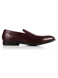 Burgundy Plain Apron Slipon Leather Shoes main shoe image