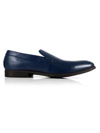 Dark Blue Plain Apron Slipon Leather Shoes shoe image