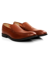 Tan Plain Apron Slipon Leather Shoes alternate shoe image