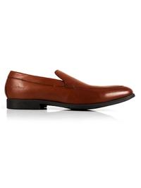 Tan Plain Apron Slipon Leather Shoes main shoe image
