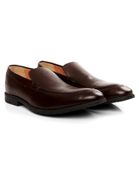 Brown Plain Apron Slipon Leather Shoes alternate shoe image