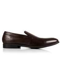 Brown Plain Apron Slipon Leather Shoes main shoe image