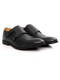 Gray Double Strap Monk Leather Shoes alternate shoe image