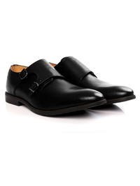 Black Double Strap Monk Leather Shoes alternate shoe image