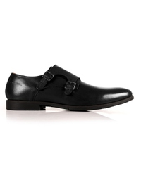 Black Double Strap Monk Leather Shoes main shoe image