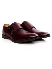 Burgundy Double Strap Monk Leather Shoes alternate shoe image