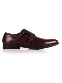 Burgundy Double Strap Monk Leather Shoes main shoe image