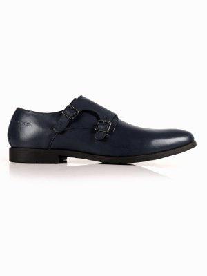 Dark Blue Double Strap Monk Leather Shoes shoe image