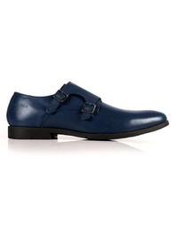 Dark Blue Double Strap Monk Leather Shoes main shoe image
