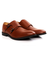 Tan Double Strap Monk Leather Shoes alternate shoe image