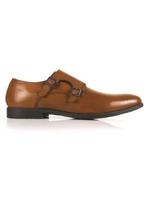 Tan Double Strap Monk Leather Shoes shoe image