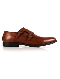 Tan Double Strap Monk Leather Shoes main shoe image