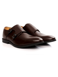 Brown Double Strap Monk Leather Shoes alternate shoe image