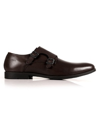 Brown Double Strap Monk Leather Shoes main shoe image