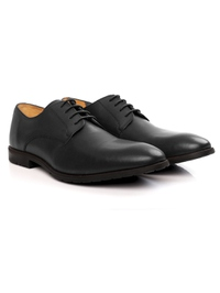 Gray Plain Derby Leather Shoes alternate shoe image