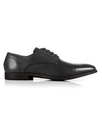 Gray Plain Derby Leather Shoes shoe image