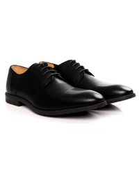Black Plain Derby Leather Shoes alternate shoe image