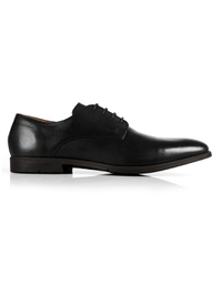 Black Plain Derby Leather Shoes shoe image