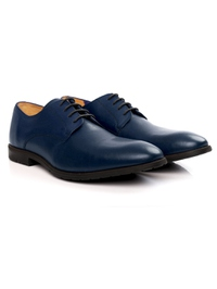 Dark Blue Plain Derby Leather Shoes alternate shoe image