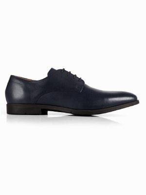 Dark Blue Plain Derby Leather Shoes shoe image