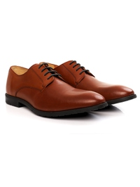 Tan Plain Derby Leather Shoes alternate shoe image