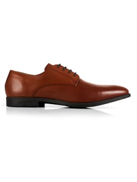 Tan Plain Derby Leather Shoes shoe image