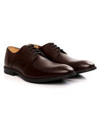 Brown Plain Derby Leather Shoes alternate shoe image