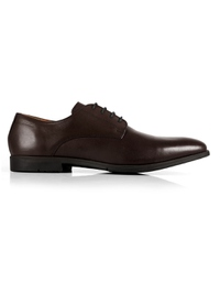 Brown Plain Derby Leather Shoes shoe image