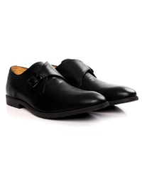 Black Single Strap Monk Leather Shoes alternate shoe image