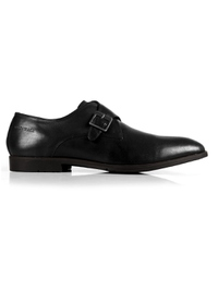 Black Single Strap Monk Leather Shoes main shoe image