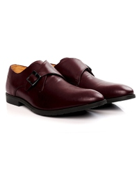 Burgundy Single Strap Monk Leather Shoes alternate shoe image